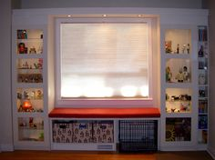 """Making a """"built in"""" window bench with shelves using IKEA products! Neat idea.  Home made bay window (sorta...)"""