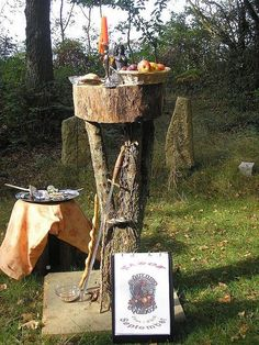 Lovely, outdoor altar for the autumn equinox.