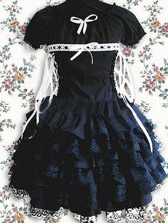 Cotton Black Short Sleeves Ruffles Lace Gothic Lolita Dress on www.ueelly.com