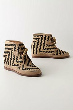Bold Stepping Booties: Rule the pavement with these geometric pony hair, toggle closures and rubber soles! $158