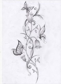 I want this on my side with black & white butterflies and coloured flowers