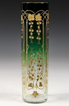 """art Glass Vase - Moser stem Rose Vase, ombred green to clear, faceted sides with engraved golddecoration of vines and berries 14 1/2"""" TALL   JV"""