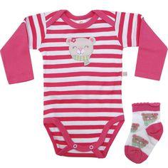 Body Bebê Menina Listrado com Meia Rosa - Best Club :: 764 Kids | Roupa bebê e infantil