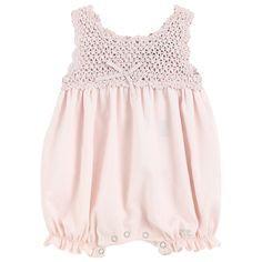 Baby Knitting Patterns Jumpsuit [ 'Sleeveless one-piece shorts. Baby Knitting Patterns, Baby Girl Patterns, Sewing Patterns Girls, Lace Knitting, Baby Girl Crochet, Crochet Baby Clothes, Crochet For Kids, Crochet Summer, Vestidos Bebe Crochet