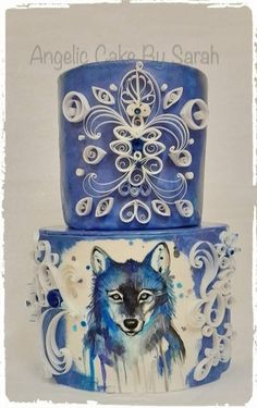 Quilled painted wolf cake by Angelic Cakes By Sarah …See the cake: http://cakesdecor.com/cakes/218155-quilled-painted-wolf-cake