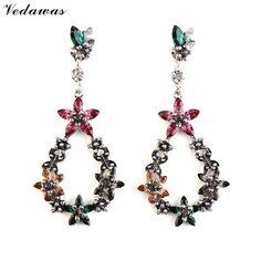 Vedawas Multicolor Crystal Flowers Long Earrings Fashion Jewelry Luxury Dangle Earrings Women Cute Wedding Drop Earrings XG1826
