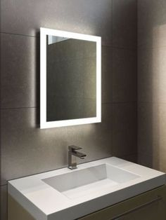 bath mirror with lights winsome design large led bathroom mirrors best led images on long bathroom m Bathroom Mirror Design, Bathroom Mirror Makeover, Bathroom Lighting Design, Bathroom Mirror Lights, Mirror With Led Lights, Modern Bathroom, Light Bathroom, Lighted Mirror, Modern Faucets