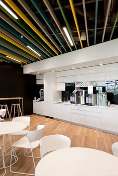 Adidas Offices – Moscow. bD Architects. Breakout. T Point. Kitchen. Slatted ceiling.