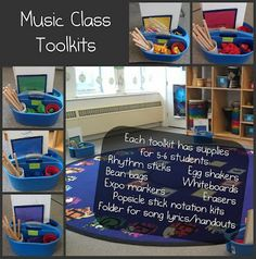 "Music class ""tool kits"". I'd go one step further and color code and assign a group a color. #music #classroom #organization"