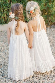 This Wedding at The Surf Lodge is Filled with Tropical Boho Charm - Green Wedding Shoes - flower girls dresses and hair adornments for a boho beachside wedding in montauk - Beach Flower Girls, Flower Girl Dresses Country, Boho Flower Girl, Beach Wedding Flowers, Wedding Flower Girl Dresses, Bridesmaid Flowers, Girls Dresses, Beach Weddings, Maxi Dresses