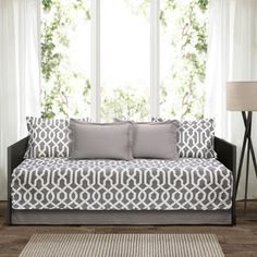 Lush Decor Edward Trellis 6 Piece Daybed Cover Set - On Sale - Overstock - 17797996 - Grey Daybed Cover Sets, Daybed Sets, Daybed Bedding, Bedding Sets, Daybed Room, Sofa Bed, Modern Daybed, Modern Bedding, Luxury Bedding