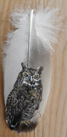 Great Horned Owl Hand Painted Feather Framed by patmorrisartist, $35.00