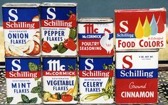 Schilling McCormick Spice Tins, 1950's