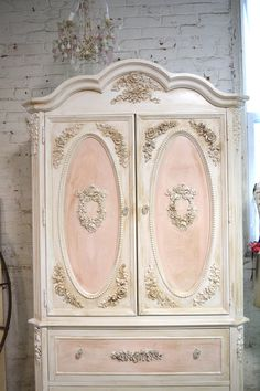 Painted Cottage Chic Shabby Romantic French Armoire AM165