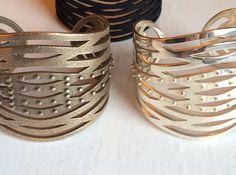 Crisscross Cuff 3d printed Jewelry Bracelets Stainless Steel & Silver