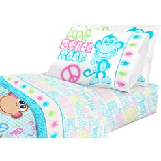 American Kids Bedding Monkey Multicolor Polyester Sheet Set Includes flat sheet, fitted sheet and pillowcase for Girls - Twin Pieces in a bag) Twin Bed Sheets, Bed Sheet Sets, Boy And Girl Shared Bedroom, Toddler Sheet Set, Kids Bedding Sets, Flat Sheets, Kid Beds, Kids Decor, Bed Pillows