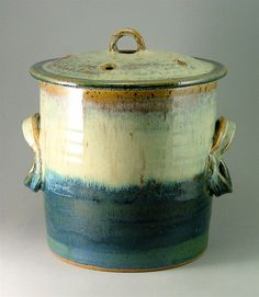 Superbe Pottery Compost Pot, Blue Green And Ivory / Kitchen Counter Top Compost,  Veggie Scrap Container
