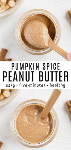 This pumpkin spice peanut butter is creamy smooth and essential for fall! Make it in just 5 minutes with a blender roasted peanuts and warm spices. Enjoy this autumn spread on top of toast oatmeal muffins and more! Vegan Snacks On The Go, Healthy Vegan Snacks, Vegan Appetizers, Vegan Sweets, Healthy Desserts, Quick Vegan Meals, Delicious Vegan Recipes, Delicious Dishes, Vegan Peanut Butter
