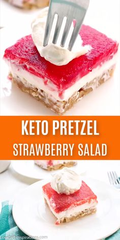 Keto Strawberry Pretzel Salad is a perfect dessert for any potluck! This keto-friendly dessert uses pecans in place of pretzels to create a low-carb recipe you will love! Low Carb Sweets, Low Carb Desserts, Low Carb Recipes, Desserts For Diabetics, Diet Desserts, Keto Friendly Desserts, Sugar Free Desserts, Sugar Free Recipes, Strawberry Pretzel Salad