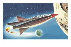 Spaceship in Outer Space Art Print by Pop Ink - CSA Images at Art.com