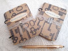 Wedding Vow Book Set  Rustic Lock and Key by TheMemoryKeeperShop