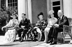 First Lady Eleanor Roosevelt, King George VI, Mrs. Sara Roosevelt, Queen Elizabeth, and President Franklin Roosevelt during the King's visit to the Roosevelt home in Hyde Park, New York, United States, Jun 10, 1939.