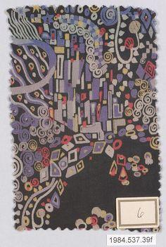 Textile Sample, c. 1920, designed by Gustav Klimt, made by Wiener Werkstätte. (Metropolitan Museum of Art)
