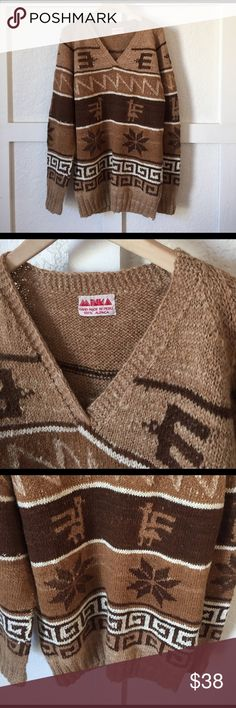 """Vintage Alpaca Sweater S/M Hand made in Peru by Minka 100% alpaca sweater. 30"""" long and so comfy. This sweater is in excellent shape. Could fit a S or a M. Vintage Sweaters V-Necks"""