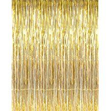 Goer 3 2 Ft X 9 8 Ft Metallic Tinsel Foil Fringe Curtains For Party Photo Backdrop Wedding Decor Gold 1 P Curtain For Door Window Curtain Fringe Curtain Decor