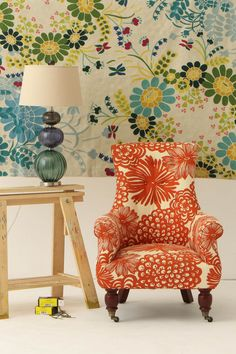 Gorgeous Wallpaper & Chair #wall #chair #lamp #interior #home #anthropologie