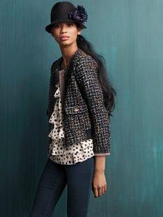 LOFT-tweed jacket, polka dot blouse