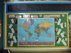 Social Studies bulletin board for studying World History. Map of the world in the center, pictures and short bios of people who made a difference in the world surrounding the map.