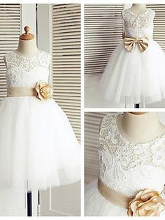 Flower Girl Dress Tea-length Lace/Tulle A-line Sleeveless Dress 2016 - $59.99