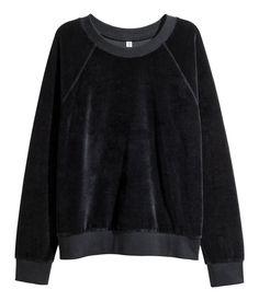 Sweatshirt i velour | Sort | Dame | H&M DK
