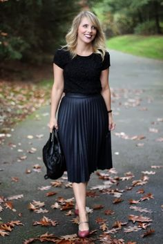 This virtuous Christian lady loves wearing her nice pleated skirt!