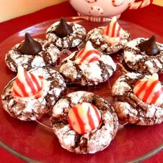 Baking and Cooking, A Tale of Two Loves Chocolate Peppermint Crinkles, A chewy chocolate cookie with a kiss of peppermint onto Christmas Sugar Cookies Recipe, Yummy Cookies, Cookie Recipes, Holiday Desserts, Holiday Baking, Just Desserts, Chocolate Peanut Butter Cookies, Chocolate Crinkles, Cute Christmas Cookies