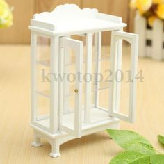 1-12-Scale-Dollhouse-Miniature-Furniture-White-Wooden-Display-Cabinet-Bedroom