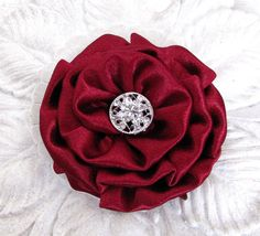 Burgundy Flower Hair Clip. Pin. Headpiece. by fabulousfinds