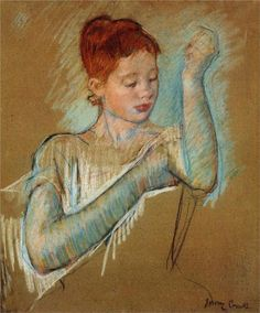 """Mary Stevenson Cassatt (1844 – 1926) was an American painter and printmaker. She lived much of her adult life in France, where she first befriended Edgar Degas and later exhibited among the Impressionists. Cassatt often created images of the social and private lives of women, with particular emphasis on the intimate bonds between mothers and children.    She was described by Gustave Geffroy in 1894 as one of """"les trois grandes dames"""" of Impressionism alongside Marie Bracquemond and Berthe…"""