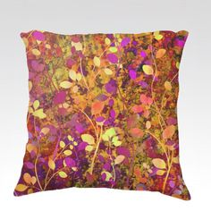AMONGST THE FLOWERS Warm Sunset Velveteen Fine Art Throw Pillow Cover by EbiEmporium, Rust Brown Orange Yellow Purple Floral Abstract Pattern #throwpillow #pillowcover #pillow #homedecor #decor #fall #autumn #autumndecor #warmcolors #colorful #modern #interiors #flowers #floral