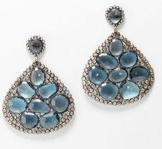 Rina Limor cabochon blue topaz earrings
