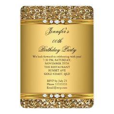 "Elegant Gold Glitter Diamond Birthday Party 5"" X 7"" Invitation  Card $2.25 per card"