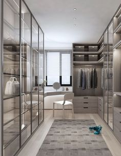 IT'S ALL GLASS AND MIRRORS Mirrored walls and cabinetry bounce much needed light around and create a sense of space even in a smallish space. PHOTO: Source Unknown Source by claudzo room design Home Room Design, Dream Home Design, Modern House Design, Home Interior Design, Interior Architecture, Dressing Room Closet, Dressing Room Design, Dressing Rooms, Dressing Room Mirror
