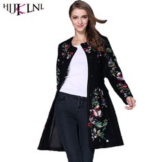 Deal Today $63.54, Buy HIJKLNL Embroidery Long Trench Coat 2017 Autumn Winter Women Wool Coat Ladies Coats Female Outwear gabardina mujer trench ST136