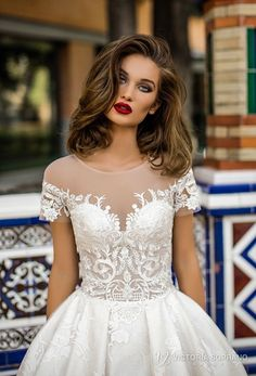victoria soprano 2018 bridal short sleeves illusion jewel sweetheart neckline heavily embellished bodice romantic a line wedding dress with pockets sheer lace back chapel train (vivian) zv -- Victoria Soprano 2018 Wedding Dresses