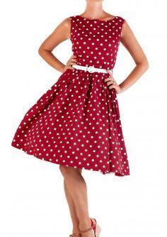 Lindy Bop 50er Jahre Rockabilly Petticoat Punkte Kleid - Audrey - Rot