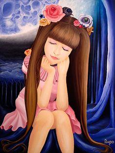 """En el gran bosque durante la media noche,  la luz de la luna pintará el paisaje y surgirá una Bella Chica disfrutando la ocasión para Ensoñar.   Título: """"Bella Ensoñación"""" Técnica: Óleo sobre Bastidor Medida: 60 x 80 cm. (2 cm. grosor) Creación: 2014 Colección: Dolls  Verificar Disponibilidad: rigoyarte@gmail.com  Artista - Rigoberto Castro (Rigo-Art)"""