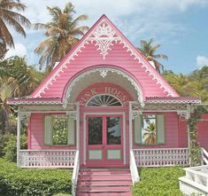 Little pink houses, for you and me!!! Love this pretty little pink house!!! Bebe'!!!- This is every little girls dream house and it also has the color of pink as the base color. Very rare to see but it is wonderful.