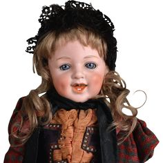 Irresistible Heubach 5636 Laughing Character Doll- Original Clothes - 15.5 Inches Tall. The doll factory of Gebruder Heubach manufactured this