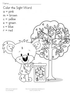 Color by Letter/Color by Sight Word Earth Day Worksheets